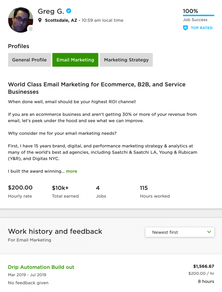 email marketing profile example greg