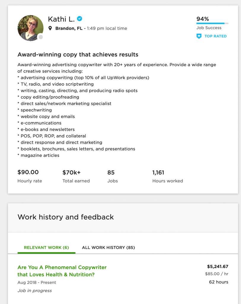 copywriting profile example kathi upwork