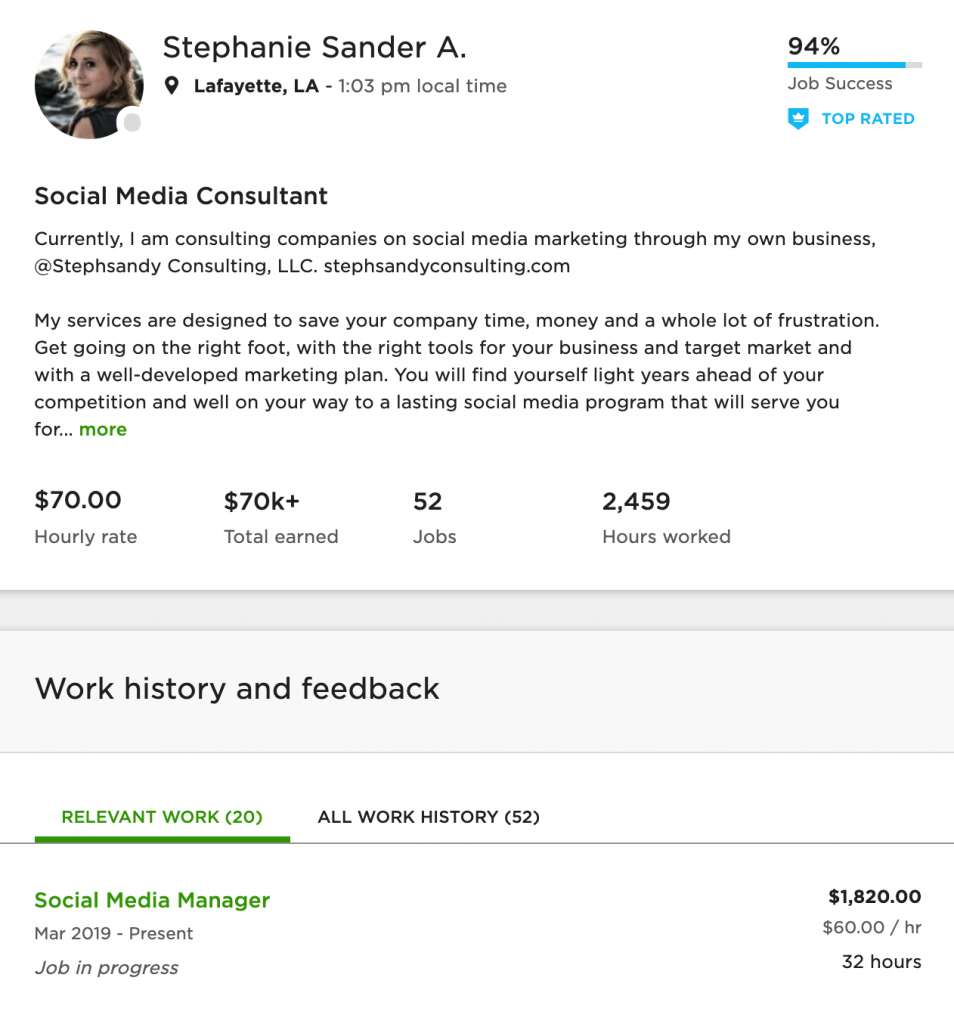 social media marketing stephanie upwork example
